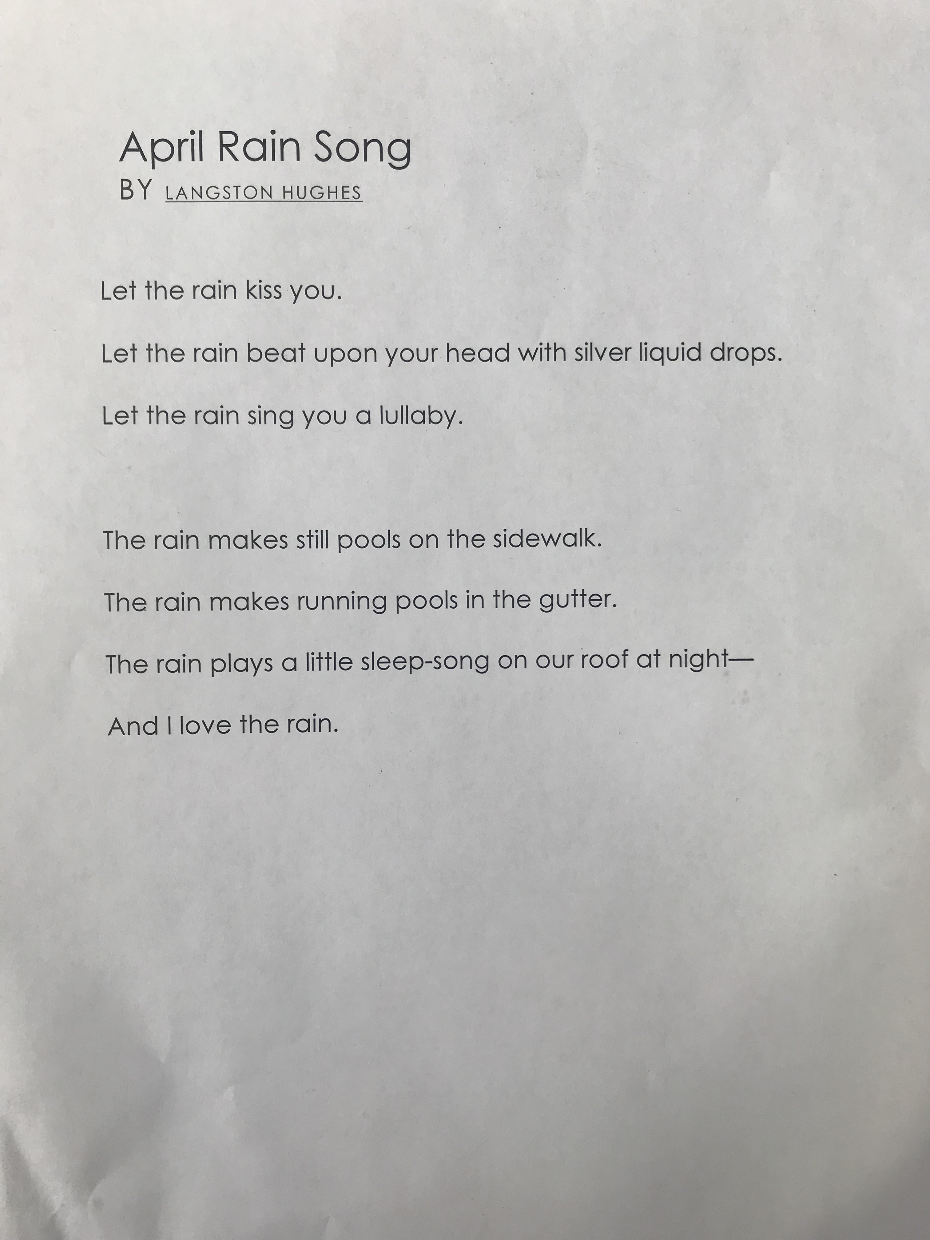 Langston Hughes April Rain Song Inspires Student Poetry